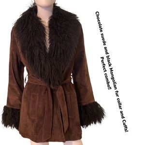 Suede and fur belted jacket